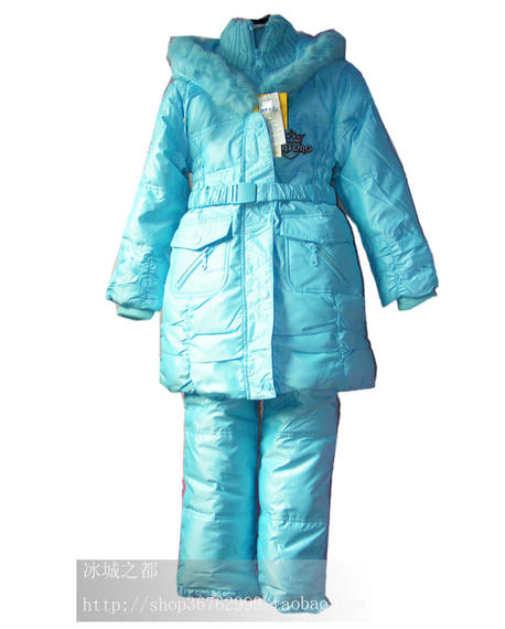 Kiss boy down jacket suit ski suit two-piece strap pants detachable children windproof snow slim thick warm clothing