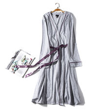 Exported to Europe and America Single Bust Women's Long Sleeve Belt Thin Cotton Bathrobes Nightgown Pajamas Large Size U176