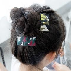 韩国迷彩刺绣方形边夹儿童发夹宝宝发饰女头饰气质款布艺发卡BB夹