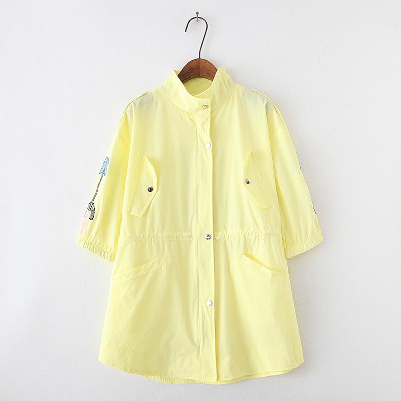 0524秋装新款风衣韩版精美刺绣单排扣外套女装收腰百搭短外套