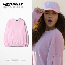 Korea small Nili plus velvet padded pullover pink sweater loose casual men and women lovers jacket coat