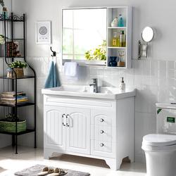 卫浴PVC美式浴室柜组合洗手脸面盆池卫生间洗漱台简约挂墙落地式