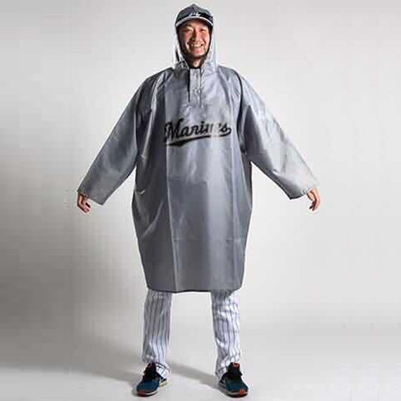 Chiba Rhodes Ocean Team Baseball poncho thickened non-disposable personality raincoat fans around