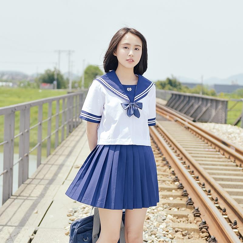 少女装_jk制服夏季少女装学生日系校服班服关西襟绣花短袖二本水手服套装