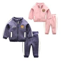 宝宝运动服女童加绒外套儿童裤子童装婴儿冬装两件套男童套装秋冬