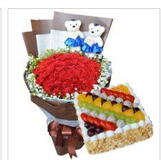大连理工大学盘锦校区蛋糕店鲜花店同城配送生日蛋糕红玫瑰花蛋糕