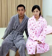 Reckless coral fleece thick plaid pajamas nightgown