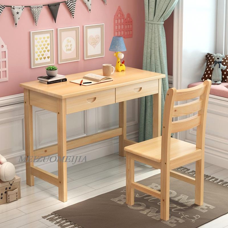 实木书桌学习桌抽屉书桌松木电脑桌家用学生特价经济卧室写字桌
