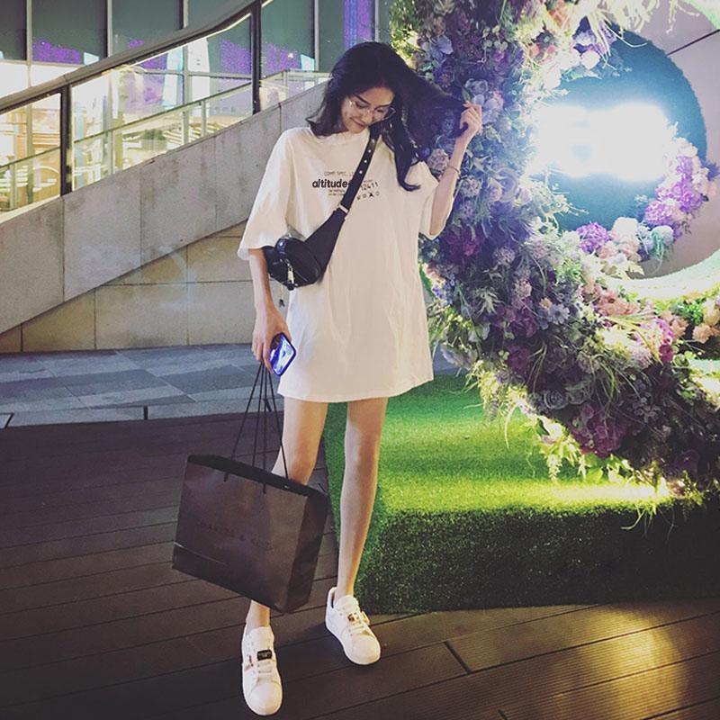 2019新款夏装韩版bf风休闲宽松纯棉大码女装中长款短袖T恤连衣裙