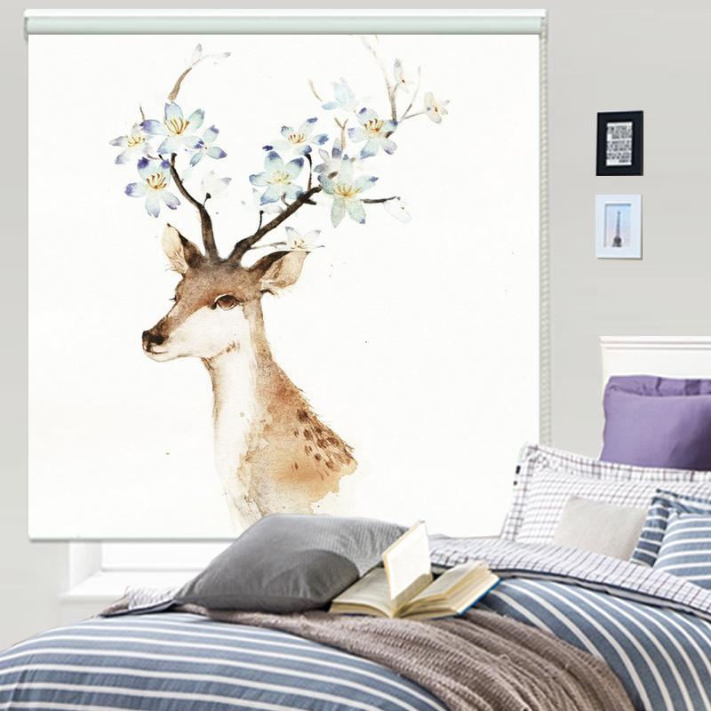 现代北欧时尚梅花麋鹿定制包邮遮光隔热卧室客厅厨房阳台简约卷帘