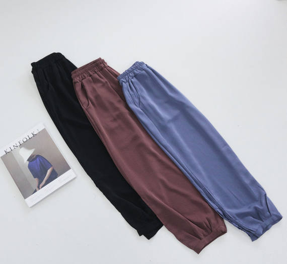 CHAO cool ~ summer ins bloom pants female straight thin mosquito pants Korean version of the fashionable mercerized cotton harem pants women
