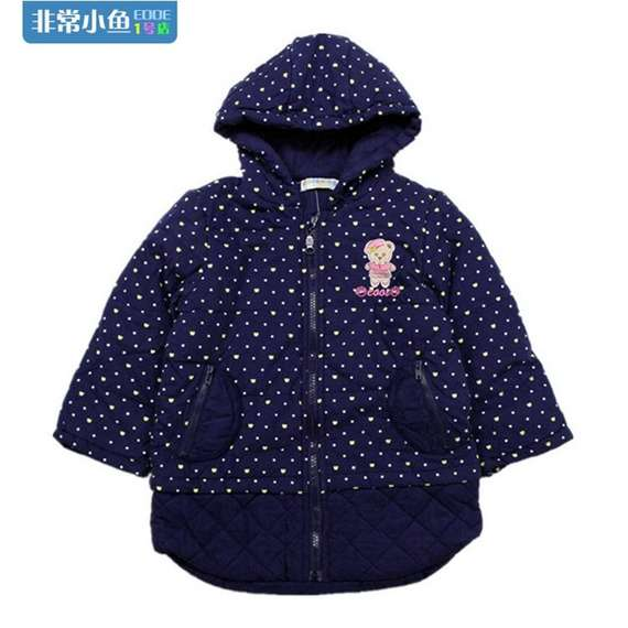 25867 Girls winter windproof hooded long polka dot quilted jacket