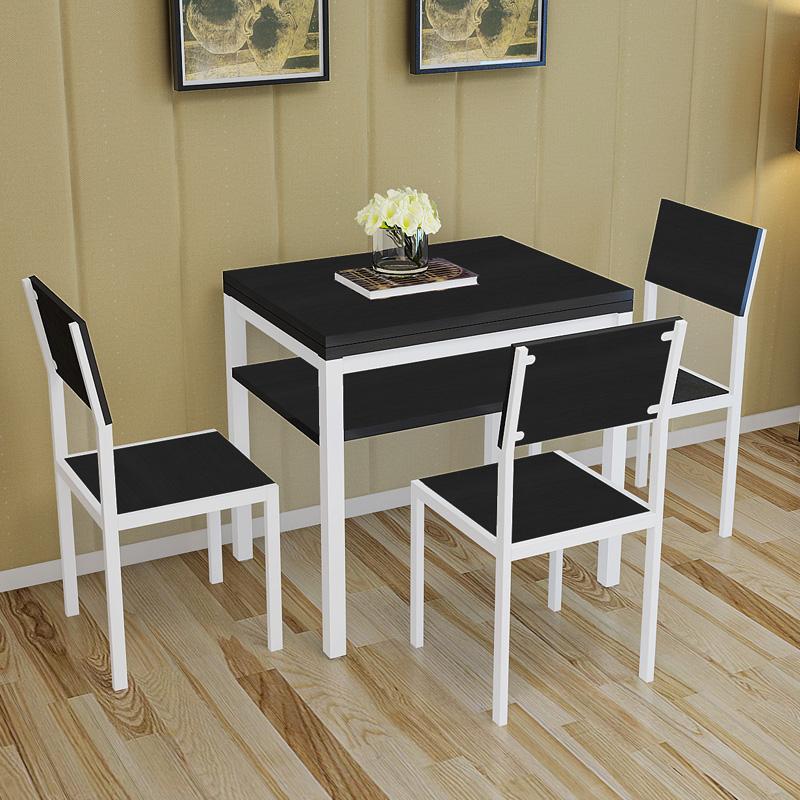 小户型可伸缩折叠餐桌简易家用饭桌旋转双层省空间家用摆摊桌椅图片