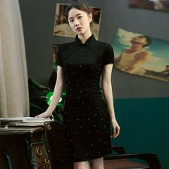 纯手工钉珠优雅气质新式旗袍改良版连衣裙少女减龄黑色复古中长裙