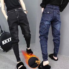 Autumn and winter plus velvet thickening feet Harlan jeans female loose fat code elastic radish long pants tide