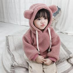 秋冬女童毛绒外套女宝宝加绒套头卫衣婴儿保暖上衣0-1-3岁韩版潮