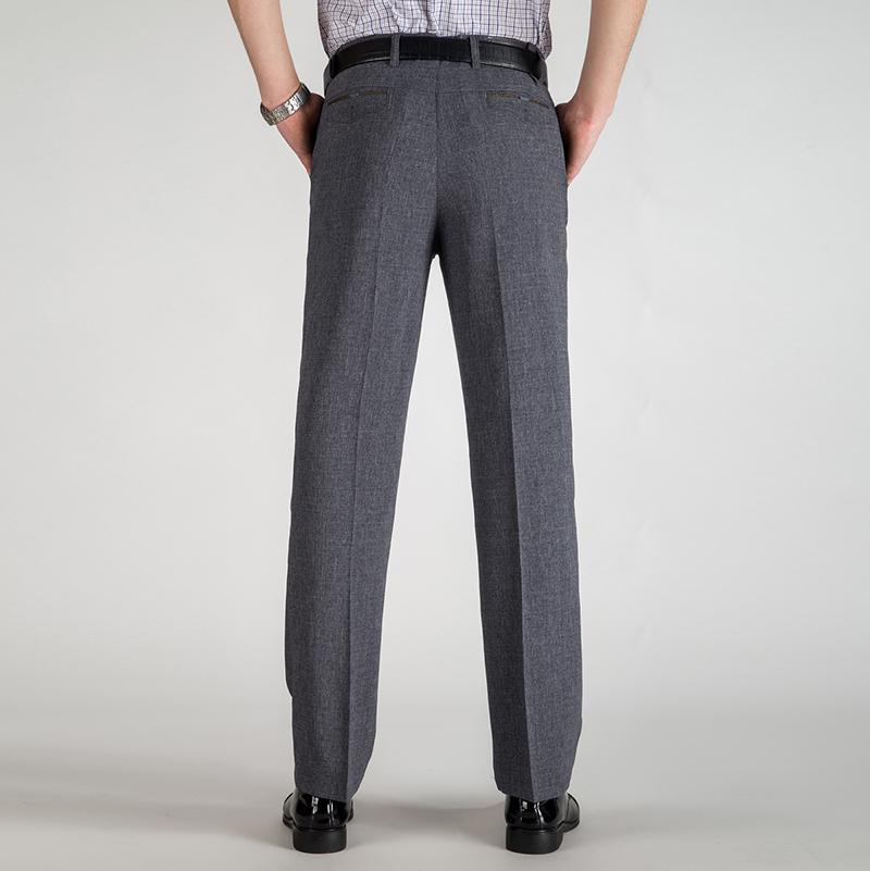 上新夏季中年男长裤加肥薄款款中老年西裤高腰免熨抗皱休闲直筒长