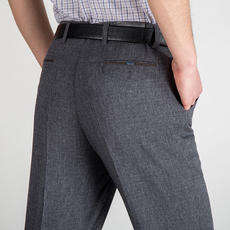 Summer middle-aged men's trousers plus fat section middle-aged trousers high waist anti-wrinkle casual straight trousers