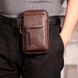 5.5-7寸男式手机腰包 休闲小单肩包迷你斜挎背包证件包穿皮带竖款