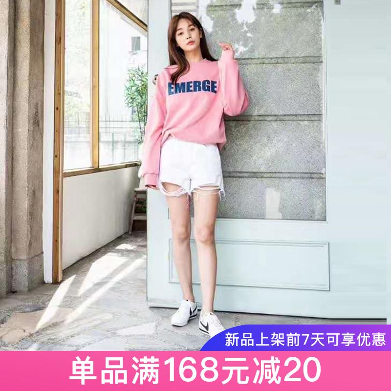 韩国东大门代购2019夏季新款HOWLUK宽松显瘦拉丝磨边高腰牛仔短裤