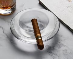 欧洲进口透明玻璃创意圆形烟缸雪茄烟缸大号客厅烟灰缸男士礼