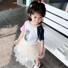2018 summer children's color sleeves personality t-shirt children's baby fashion trend casual short sleeves