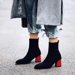 2018秋季新款方头粗跟拼色短靴女袜子靴中跟弹力靴瘦廋高跟马丁靴