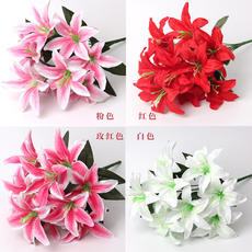 Simulation Lily 10 Lily 绢 Artificial Flower Home Decorative Flower Lily Lily Decorative Flower