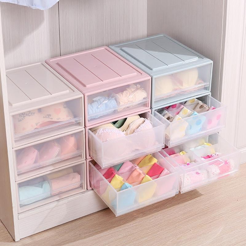 抽屉式内衣收纳盒塑料分格家用衣柜衣物内裤袜子文胸整理盒三件套