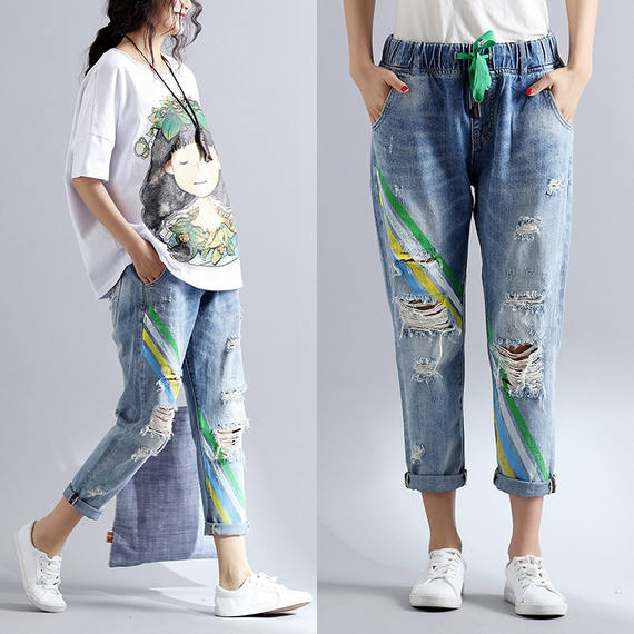 Hole jeans women spring and autumn new large size loose Korean version of the nine pants pants was thin elastic waist harem pants tide