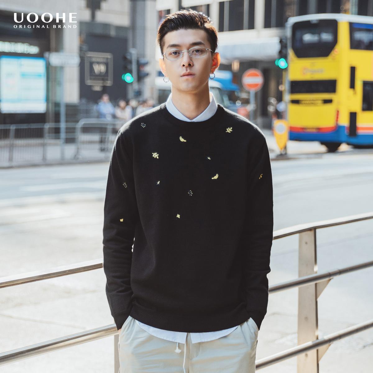 UOOHE男士针织衫 2019秋季新款黑色打底衫 时尚潮流刺绣加厚毛衣