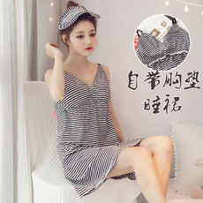 With chest pad nightdress female Korean version of the bra wear one-piece underwear pajamas home service sexy summer strap skirt
