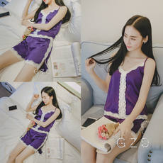 Summer ladies pajamas thin section with chest pad short-sleeved Korean silk pajamas girls ice silk sexy two-piece suit