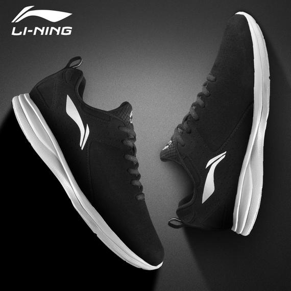 Li Ning men's shoes running shoes 2018 autumn leather genuine casual shoes winter fitness shoes black running shoes sports shoes