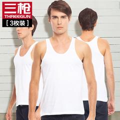 三枪背心男夏天白色纯棉内衣宽松中老年跨栏男士运动老头打底汗衫