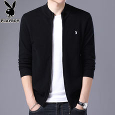 Playboy autumn and winter new sweater men's long-sleeved knit cardigan sweater zipper jacket men's sweater