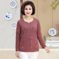 Mother's spring and autumn new long-sleeved shirt Middle-aged and elderly lady's thin T-shirt middle-aged women's spring shirt