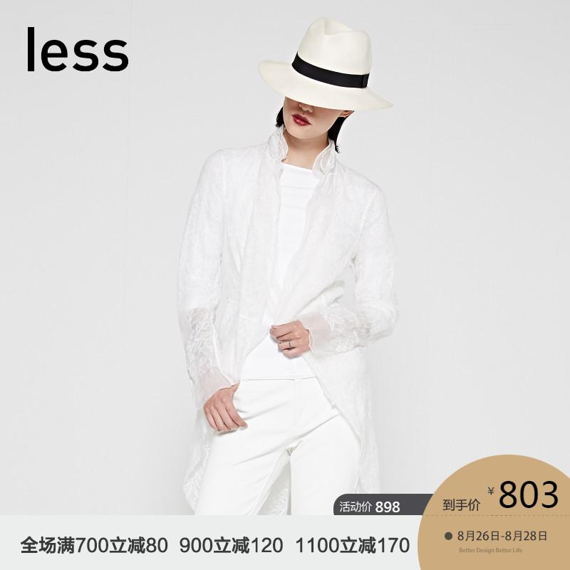 less2018春夏桑蚕丝燕尾半透明长款优雅礼服风衣外套女款27221078