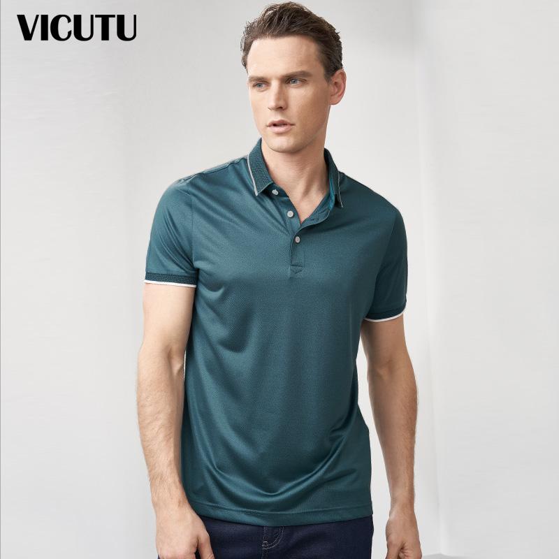VICUTU/威可多男士短袖T恤纯桑蚕丝商务时尚撞色拼接翻领POLO衫
