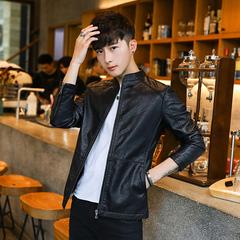2018春季新款男士机车皮衣韩版修身帅气青年学生皮夹克外套百搭衣