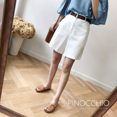 Good wear and perfect score! Refreshing white Twill fabric Slim straight high waist with Bermuda three-point shorts