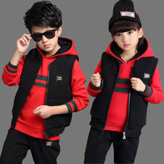 Autumn and winter thick three-piece men and women children's clothing set 2018 new wave children's winter leisure sports suit