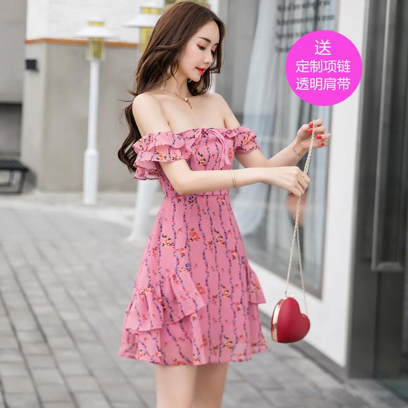 2018夏季女装韩版名媛甜美粉色性感碎花一字领露肩雪纺连衣裙礼服