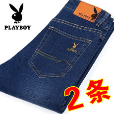 Summer thin playboy jeans male elastic straight loose men's pants youth casual high waist men's trousers