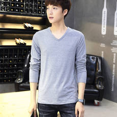 Spring and summer solid color long-sleeved t-shirt men's special 9.9 autumn and winter V-neck shirt DIY half-sleeved small shirt wholesale