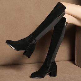皮靴子女高筒秋冬季高跟性感显瘦2018新款粗跟过膝长靴弹力靴大码