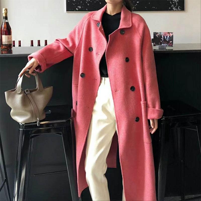 双面羊绒大衣女中长款时尚大摆双排扣2018秋冬新款大码羊毛呢外套