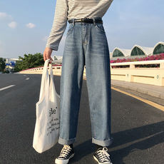 Autumn women 2018 new women's loose high waist straight pants student casual wide leg pants retro denim long pants