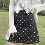 春季新款女装波点小清新开叉高腰修身显瘦学生A字包臀半身裙短裙