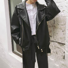 Autumn 2018 new women's motorcycle lapel matte PU leather loose student wild jacket cardigan short coat